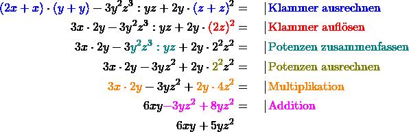 \begin{align*} \textcolor{blue}{(2x+x)} \cdot \textcolor{blue}{(y+y)} - 3y^2z^3 : yz + 2y \cdot\textcolor{blue}{(z+z)}^2 &= \quad   \,\text{\textcolor{blue}{Klammer ausrechnen}}\\ 3x \cdot 2y - 3y^2z^3 : yz + 2y \cdot \textcolor{red}{(2z)^2} &= \quad   \,\text{\textcolor{red}{Klammer auflösen}}\\ 3x \cdot 2y - 3\textcolor{teal}{y^2z^3 : yz} + 2y \cdot 2^2z^2 &= \quad   \,\text{\textcolor{teal}{Potenzen zusammenfassen}}\\ 3x \cdot 2y - 3yz^2 + 2y \cdot \textcolor{olive}{2^2}z^2 &= \quad   \,\text{\textcolor{olive}{Potenzen ausrechnen}}\\ \textcolor{orange}{3x \cdot 2y} - 3yz^2 + \textcolor{orange}{2y \cdot 4 z^2} &= \quad   \,\text{\textcolor{orange}{Multiplikation}}\\ 6xy \textcolor{magenta}{- 3yz^2 + 8yz^2} &= \quad   \,\text{\textcolor{magenta}{Addition}}\\ 6xy + 5yz^2 \end{align*}