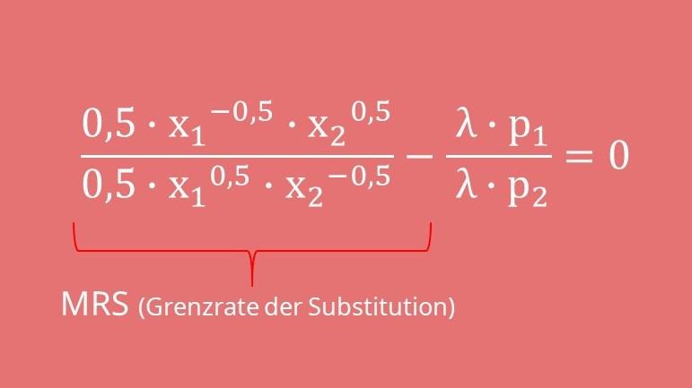 Nutzenmaximierung Beispiel, Berechen mit GRS