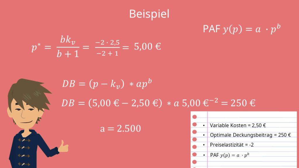 Multiplikative Preis-Absatz-Funktion Beispiel