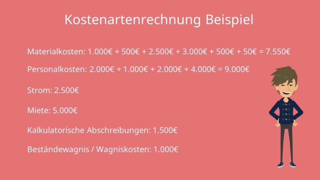 Kostenartenrechnung Beispiel