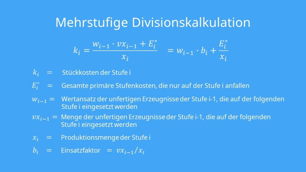 Mehrstufige Divisionskalkulation