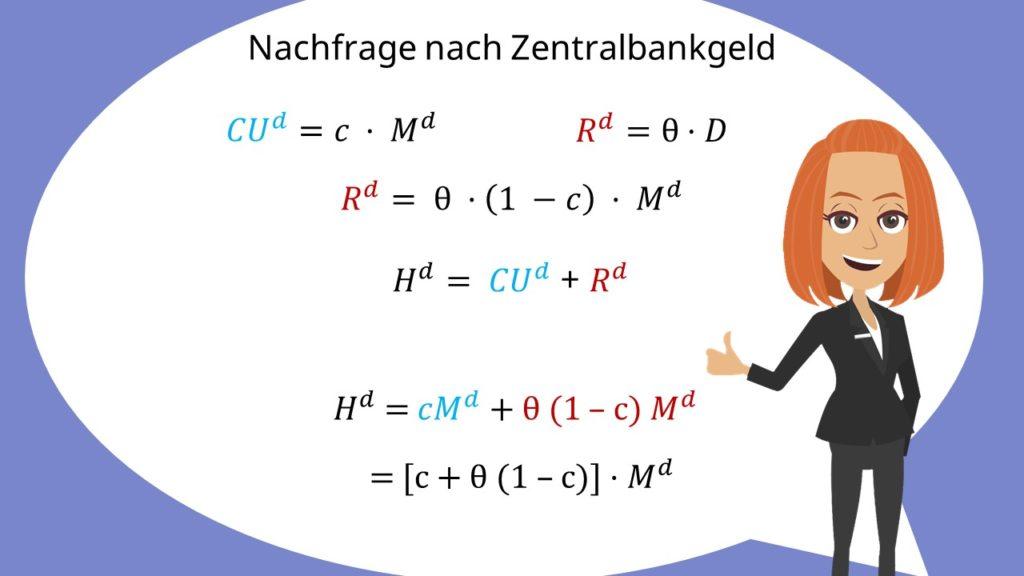Geldnachfrage Zentralbankgeld, Formel