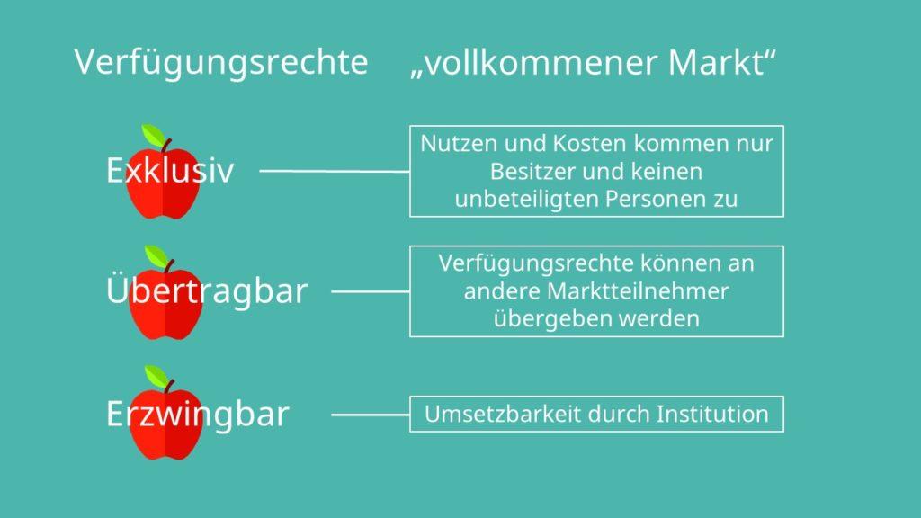 Verfügungsrechte, Coase Theorem, vollkommener Markt