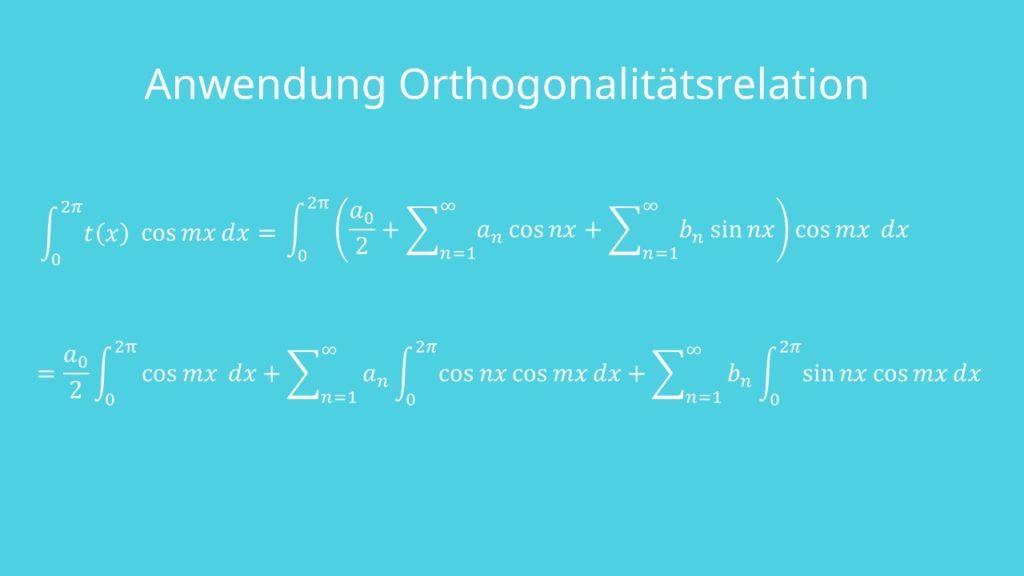 Anwendung Orthogonalitätsrelation Furierreihen