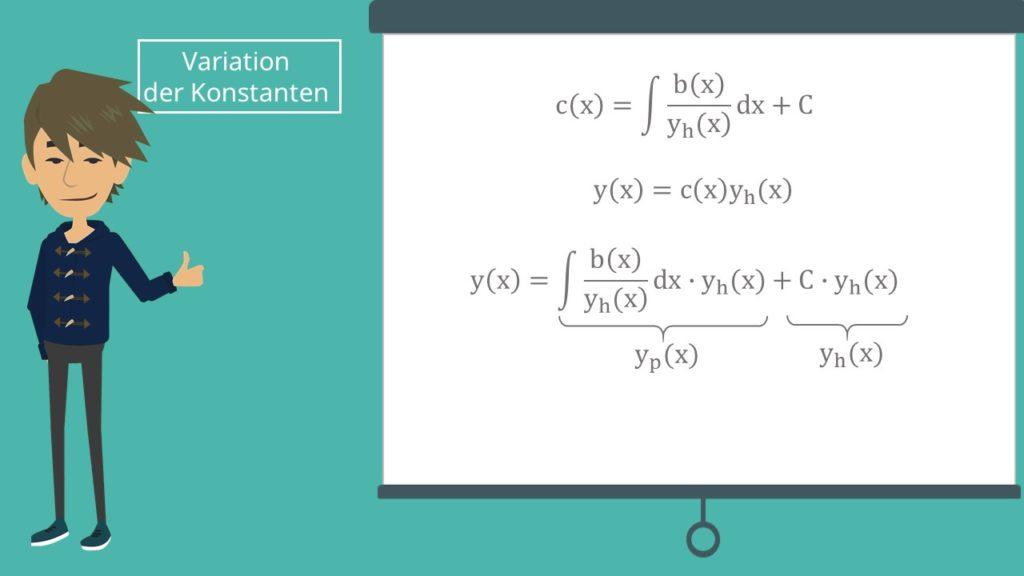Variation der Konstanten: Ergebnis Partikulärlösung und homogene Lösung