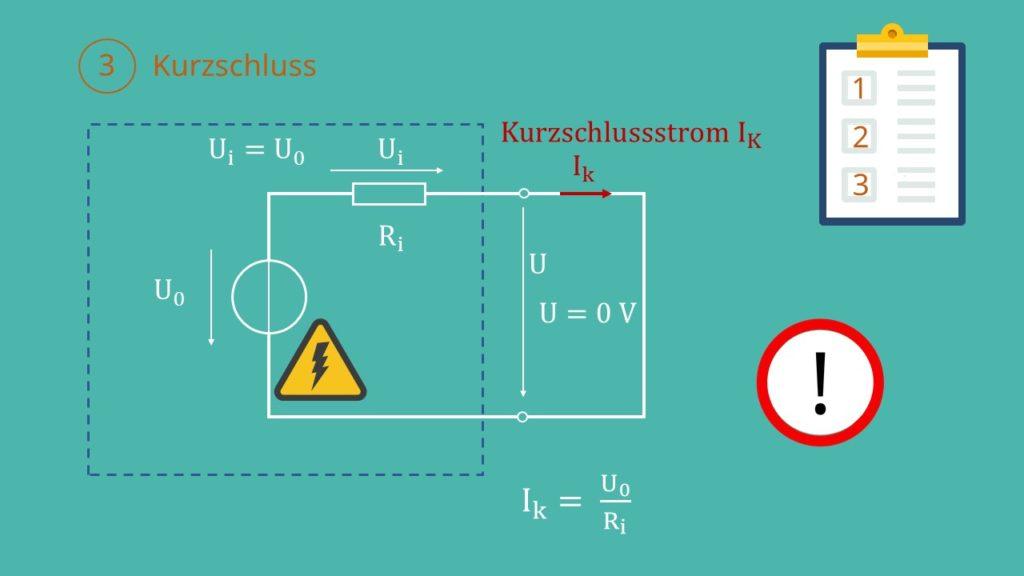 Reale Spannungsquelle, Innenwiderstand, ideale Spannungsquelle, Spannungsquelle Ersatzschaltbild, Kurzschlussstrom