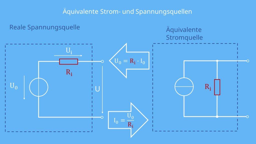 Spannungsquelle, Stromquelle, Spannungsquelle in Stromquelle umwandeln. Stromquelle in Spannungsquelle umwandeln