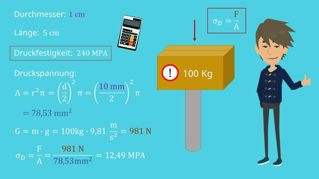 Druckspannung berechnen