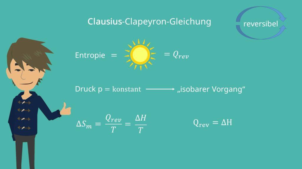 Clausius Clapeyron, Clausius Clapeyron Gleichung, Thermodynamik, Druck, isobar, reversible, Enthalpie, Entropie, Differenz, Temperatur