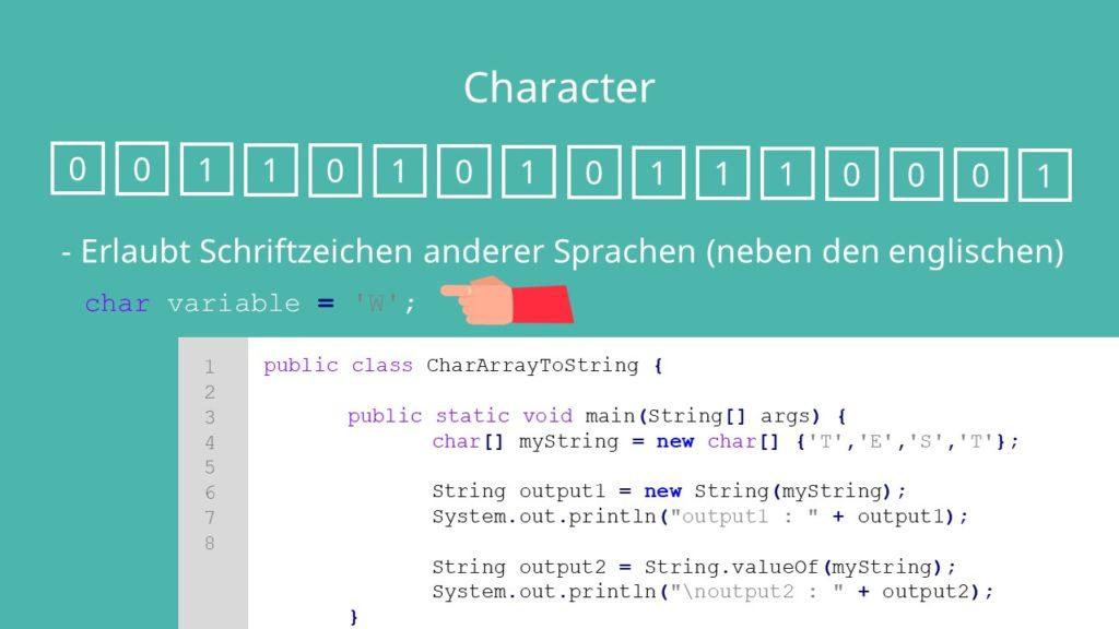 Java char, Primitive Datentypen Java, Java Datentypen