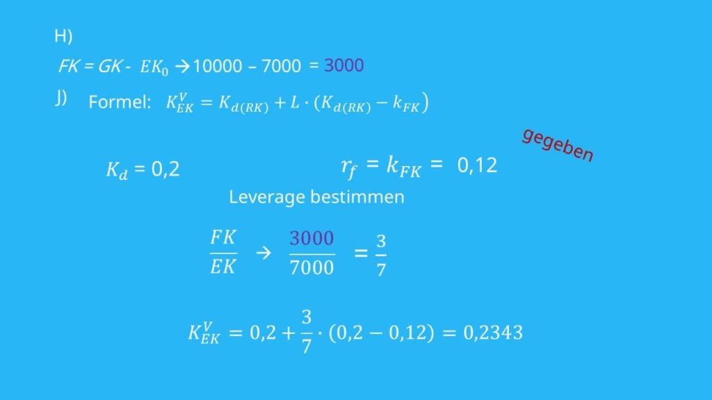 Eigenkapitalskosten  Berechnung