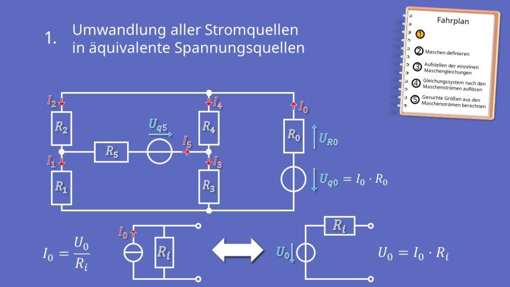 Maschenstromverfahren, Netzwerkanalyse, Maschen, Knoten, Stromquelle, Spannungsquelle