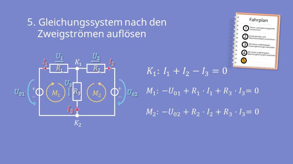 Zweigstromverfahren, Zweigstromanalyse, Gleichungssystem, Kirchhoffsche Regeln