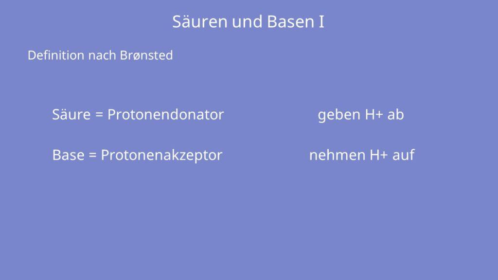 Definition Säure, Definition Base, Protonendonator, Protonenakzeptor, Wasserstoffion, Proton