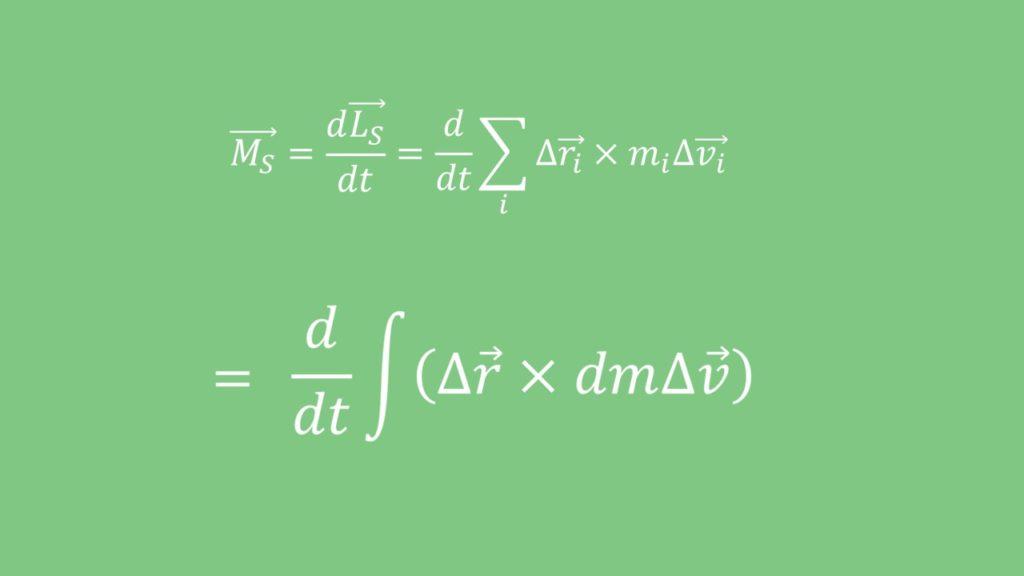 Drallsatz, Massenverteilung, kontinuierlich, Schwerpunkt, Drehimpuls, Drehmoment, Geschwindigkeit