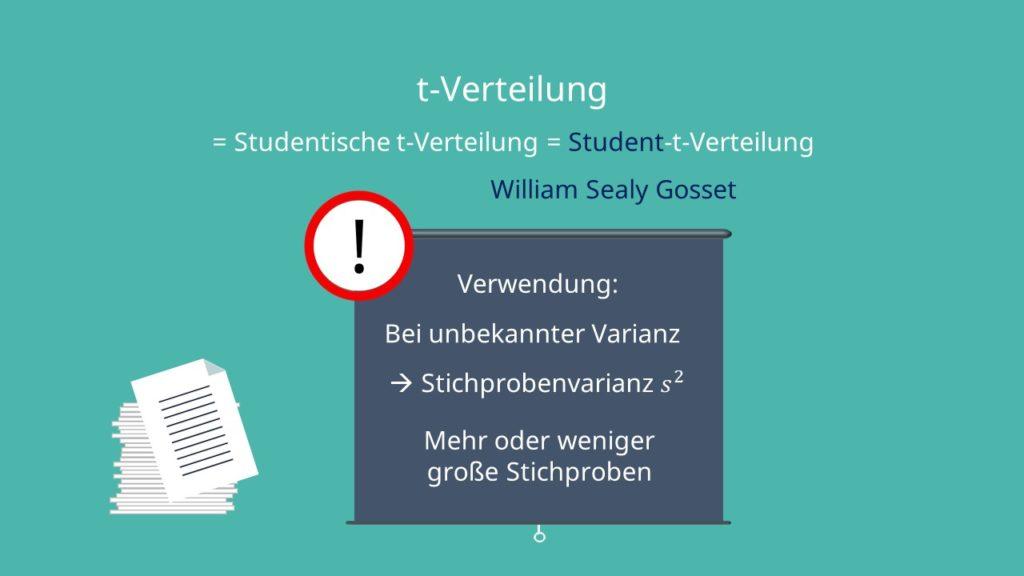 t-Verteilung, t Verteilung, Student t Verteilung, Studensche Vertielung, studentische verteilung