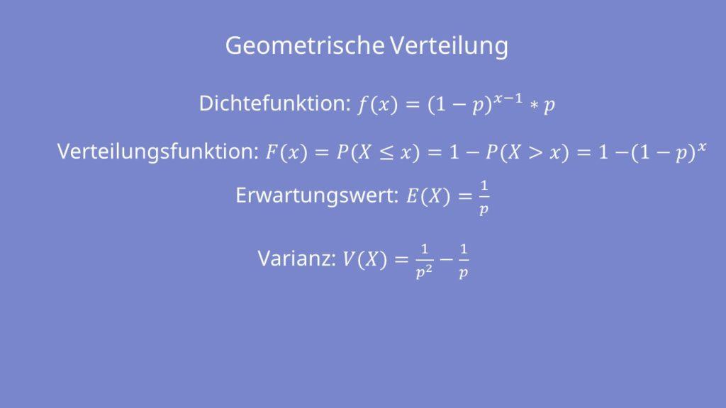 Geometrische Verteilung Formeln