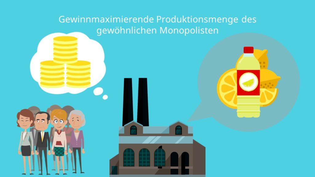 Gewinnmaximierung Produktionsmenge gewöhnlicher Monopolist