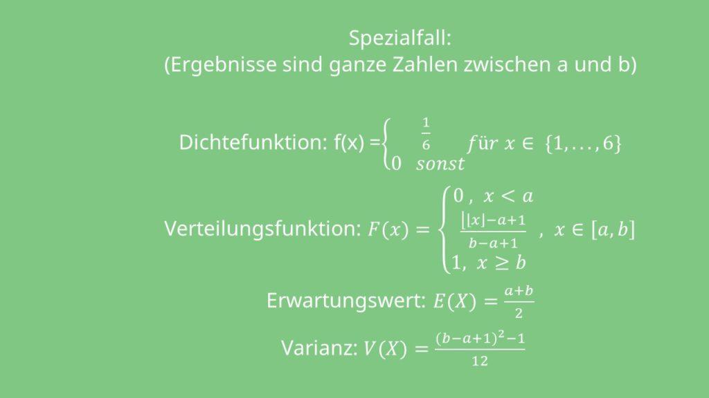 Formeln Gleichverteilung