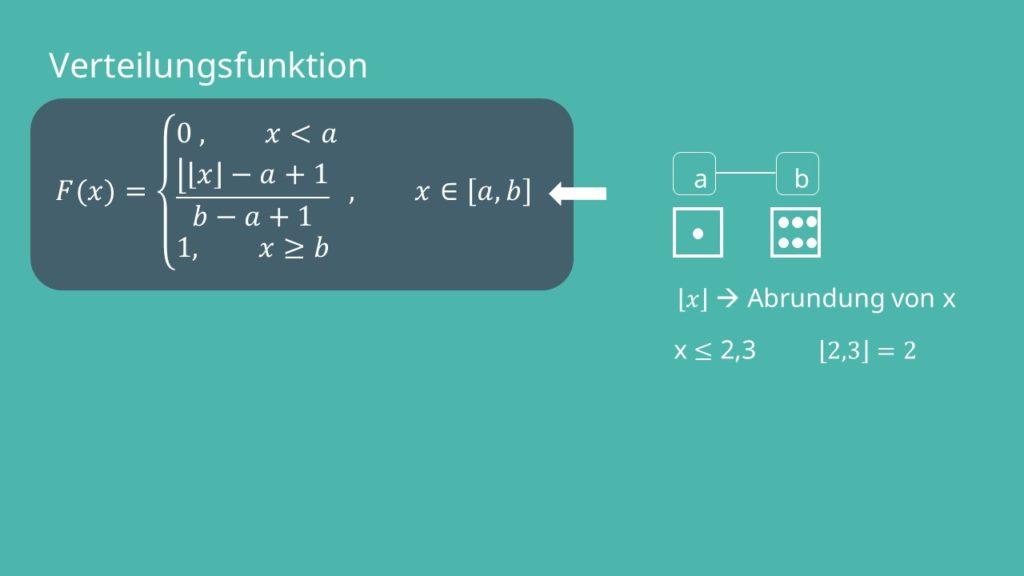 Verteilungsfunktion Gleichverteilung diskrete Zufallsvariablen