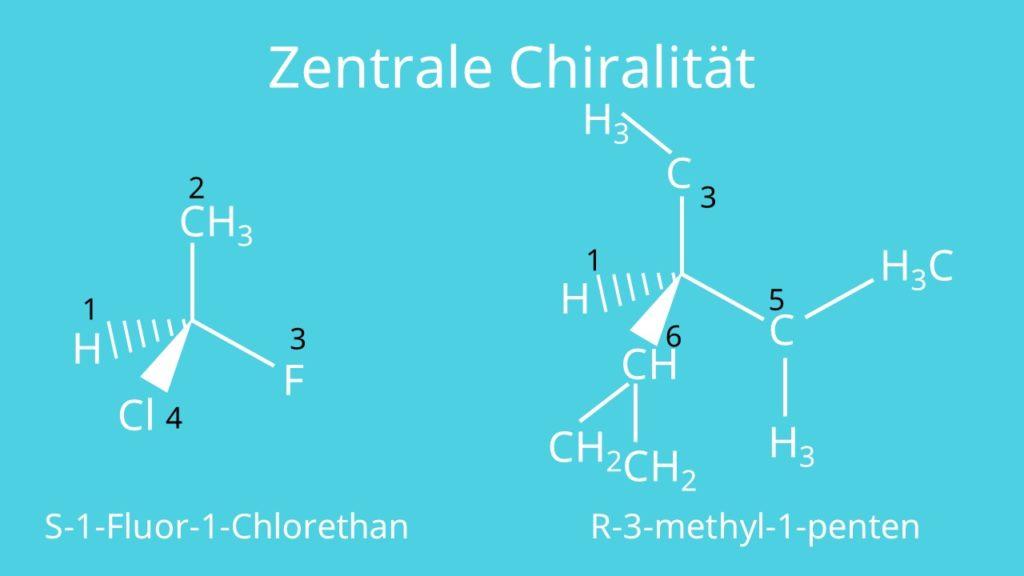 Moleküle, zentrale Chiralität, Chiralität, R/S Benennung, achiral, chiral
