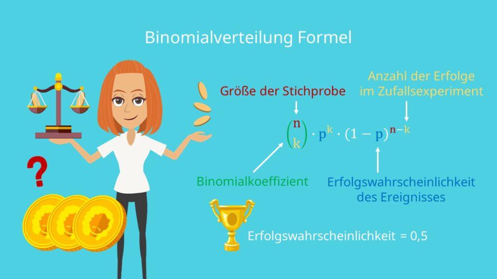Binomialverteilung Formel, Stichprobe, Binomialkoeffizient, Erfolgswahrscheinlichkeit