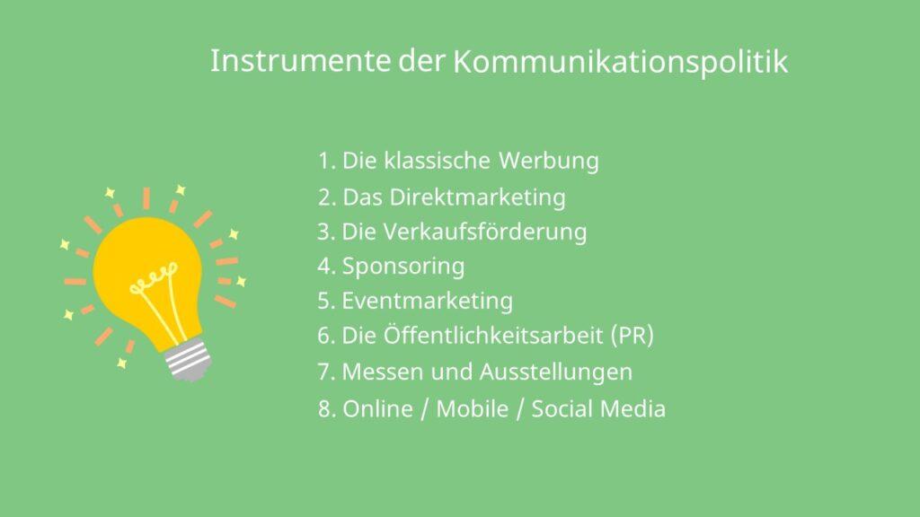 Zusammenfassung Instrumente Kommunikationspolitik klassische Werbung Direktmarketing Verkaufsförderung Sponsoring Eventmarketing Öffentlichkeitsarbeit (PR) Messen Ausstellungen Social Media Online Mobile