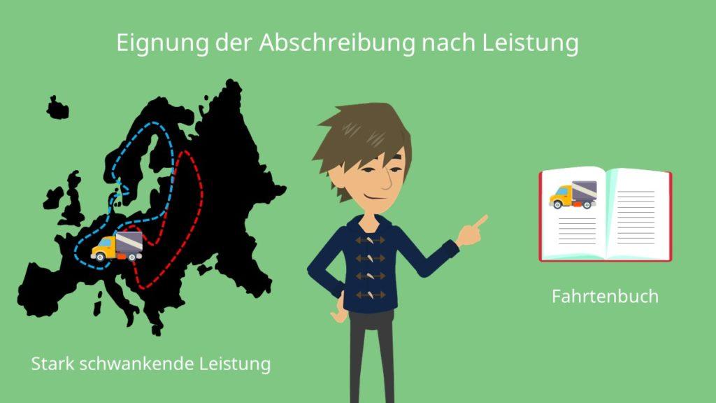 Fahrtenbuch, Leistungsabschreibung