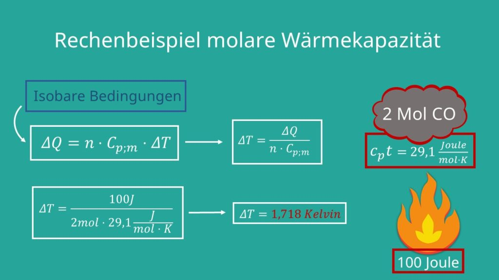 Molare Wärmekapazität Beispiel, Rechenbeispiel molare Wärmekapazität