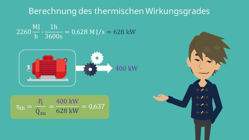 Thermischer Wirkungsgrad, Arbeit