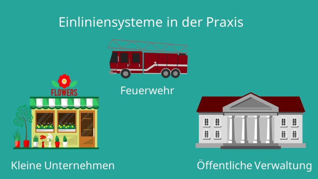 bürokratische Unternehemn, Einlininensysteme, Organisationsstruktur