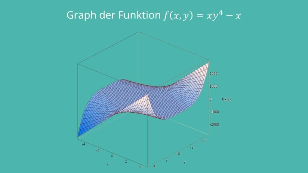 Hesse-Matrix Beispiel Graph einer mehrdimensionalen Funktion xy^4-x