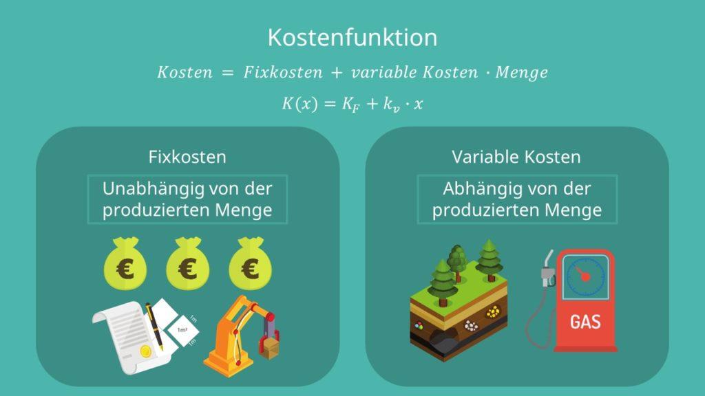 Fixkosten, variable Kosten, produzierte Menge, Menge