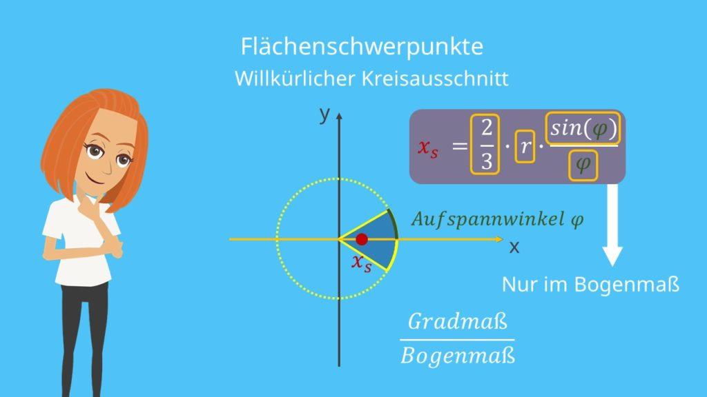 Schwerpunkt Kreisausschnitt Flächenschwerpunkt Kreisausschnitt Schwerpunkt berechnen