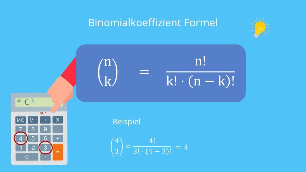 Binomialkoeffizient berechnen, Binomialkoeffizient Taschenrechner, Binomialkoeffizient Beispiel