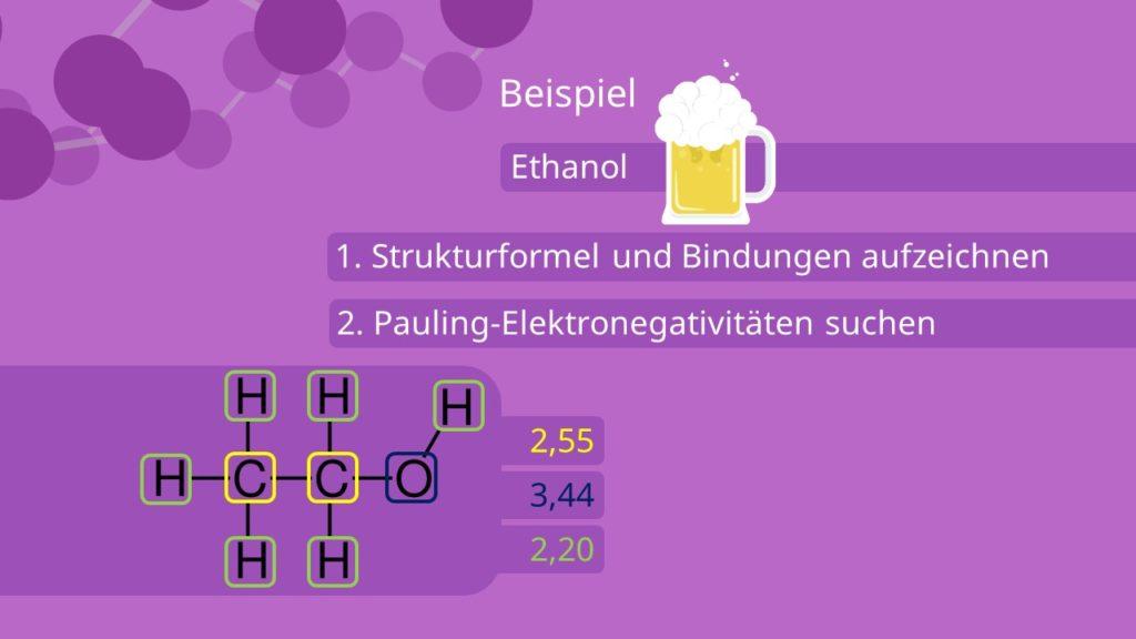Oxidationszahl bestimmen, grafisch, Ethanol, Strukturformeln, Bindungen, Pauling Elektronegativität