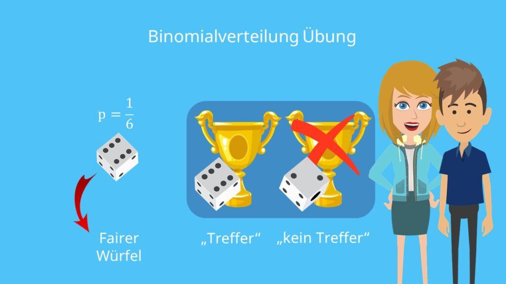 Binomialverteilung Übung, fairer Würfel, Treffer, kein Treffer