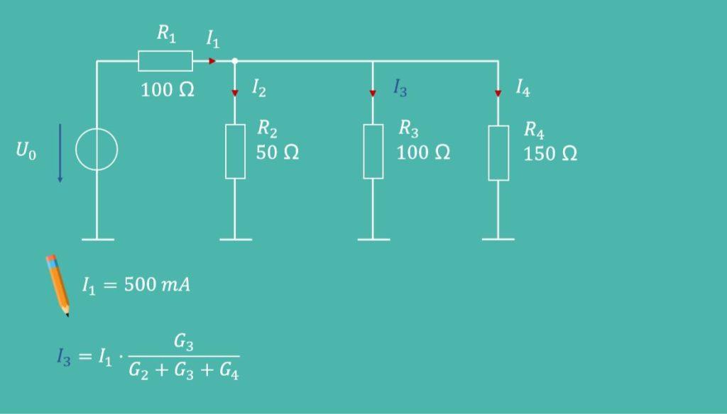 Stromteiler, Stromteiler Beispiel, Widerstand, Teilstrom, Gesamtstrom, Stromteiler 3 Widerstände