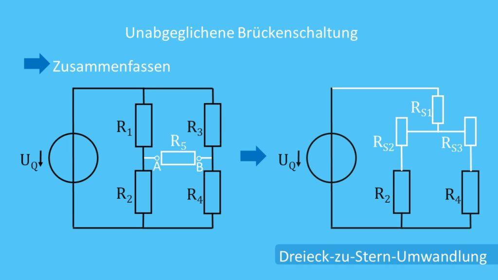 Unabgeglichene Brückenschaltung und Dreieck-zu-Stern-Umwandlung