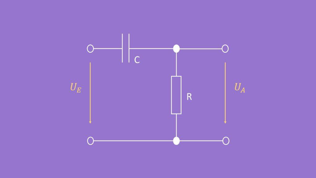 Schematische Darstellung eines RC-Hochpass, Hochpass Beispiel