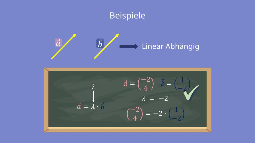 Beispiel für zwei linear abhängige Vektoren, Linear Abhängig, Linear Unabhängig, Lambda