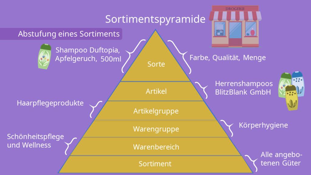 Sortimentspyramide, Sorte, Artikel, Artikelgruppe, Warengruppe, Warenbereich, Sortiment