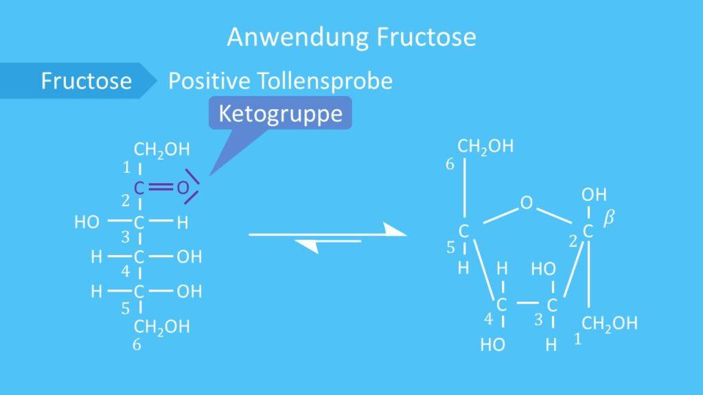 Fructose, Ringform, offenkettige Form, Ketogruppe. Halbacetal, Keto Enol Tautomerie
