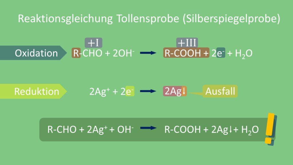 Tollensprobe, Silberspiegelprobe, Reaktionsgleichung, ALdehyd, Carbonsäure, Silber