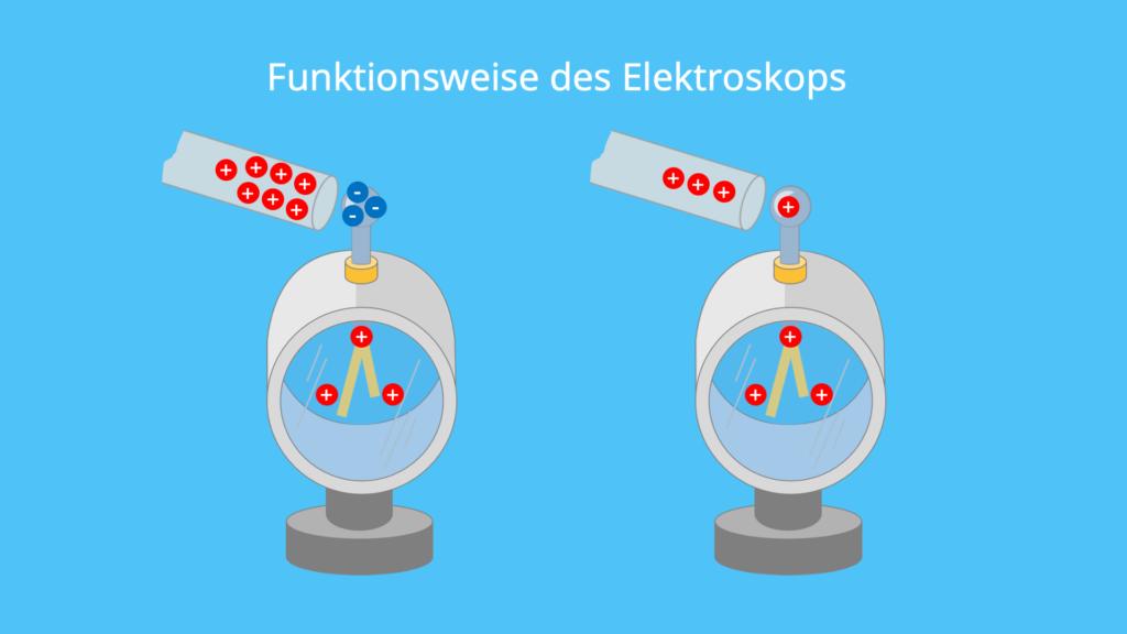 Elektroskop, Funktionsweise, Ladung, Ladungsträger, Ladungsverschiebung