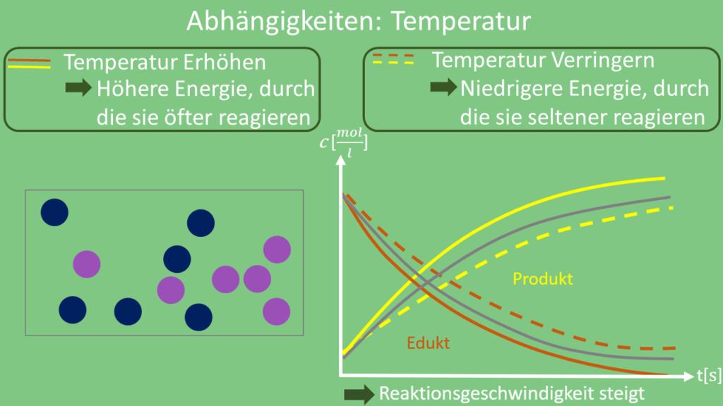 Reaktionsgeschwindigkeit Temperatur, Reaktionsgeschwindigkeit Abhängigkeiten