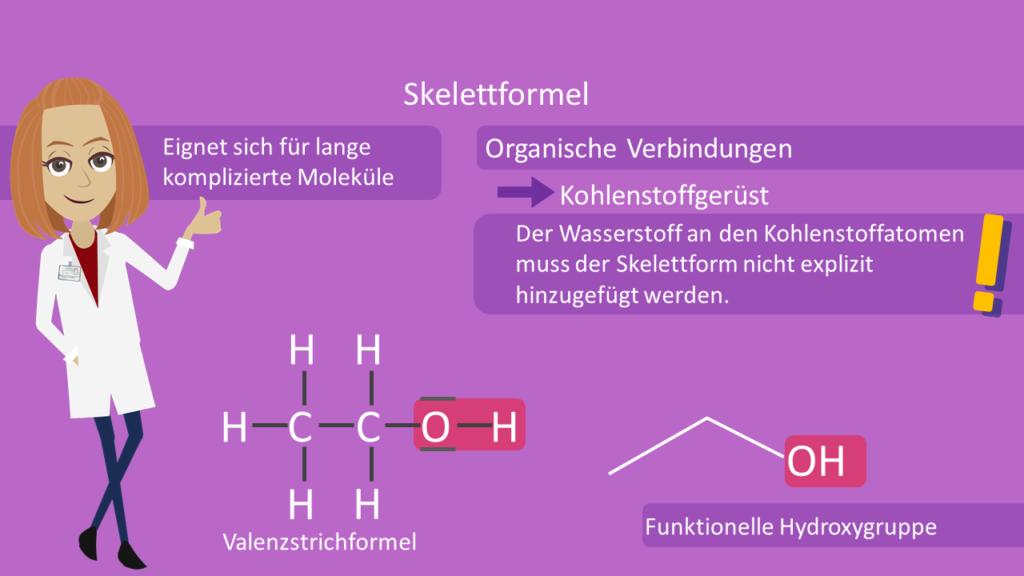 Skelettformel, Ethanol, Strukturformel