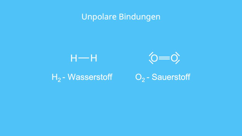 Unpolare Bindungen, H2, O2, Wasserstoff, Sauerstoff