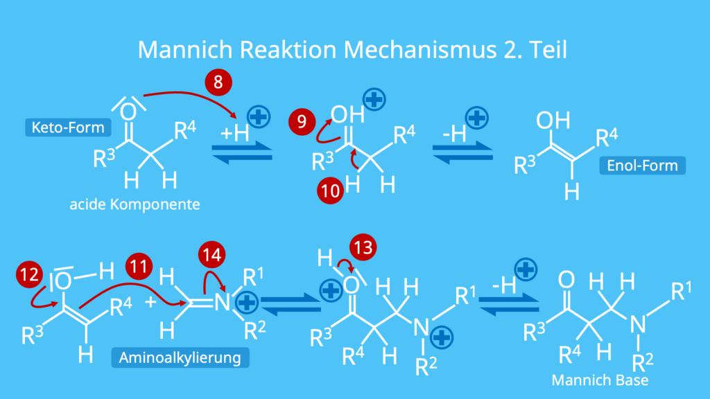 Mannich Reaktion, Mechanismus, Reaktion, Mannich Reaktion