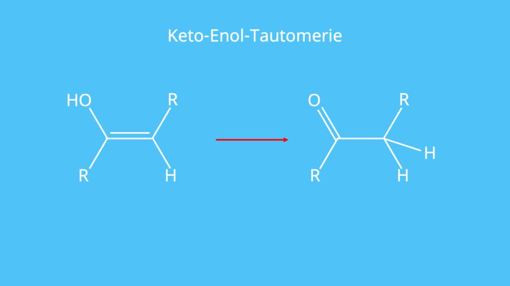 Keto-Enol-Tautomerie, Brom, Elektrophile Addition, Doppelbindung, Elektrophiler Angriff, Bromonium-Ion, anti Addition, Bromaddition